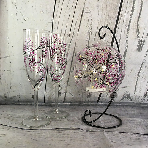 Hanging Tea Light Holder & Glass Set, Hand-painted Cherry Blossom