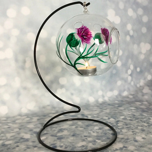 Hanging Tea Light Holder, Hand-painted Thistle Design