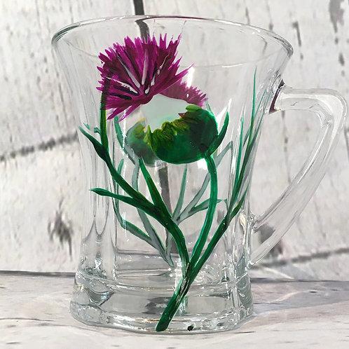 Hand Painted Thistle Glass Mug