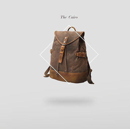 The Egypt Drawstring Back pack with Leather Base Detail