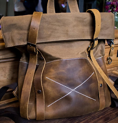 Mexico Waxed Cotton and Leather Back Pack in Khaki