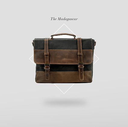 Madagascar Canvas Laptop Bag withLeather Details