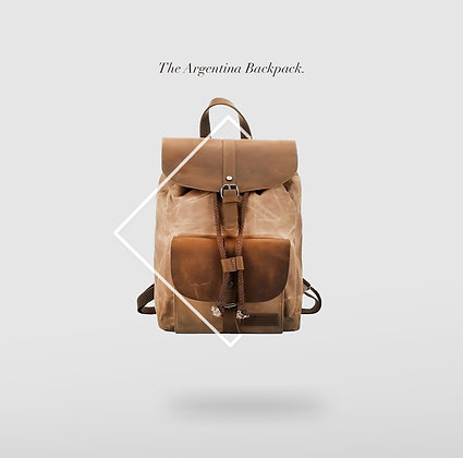 Argentina Drawstring Back pack with Leather Flap