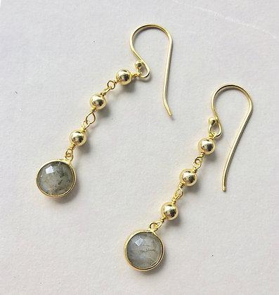 Labradorite and Golden Ball Earring