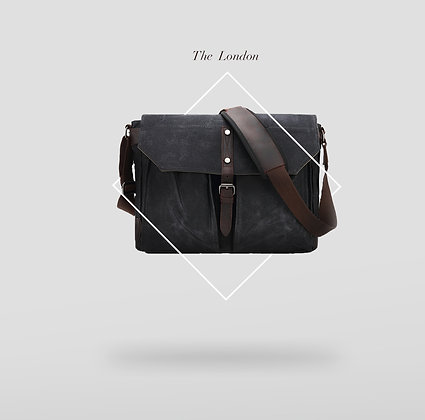 Canvas Laptop Bag with leather closure Dark Grey