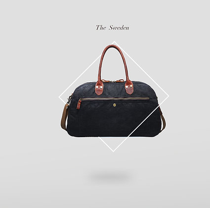 Black Canvas Duffle bag with Full Grain Leather Details