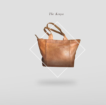 The Kenya Leather Tote Woven Front Panel