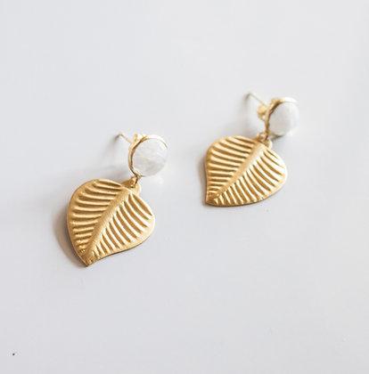 Moonstone and Leaf earring