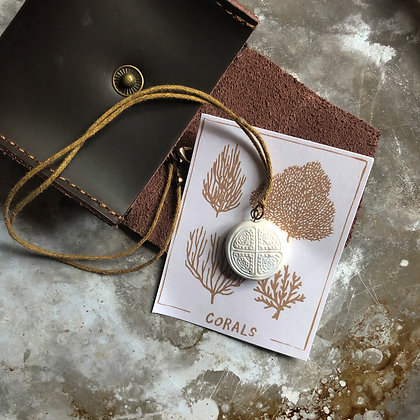 White Pendant Tan Cord with Pouch