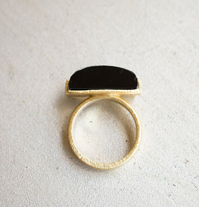 Black Onyx Bar Ring 2cm Diameter