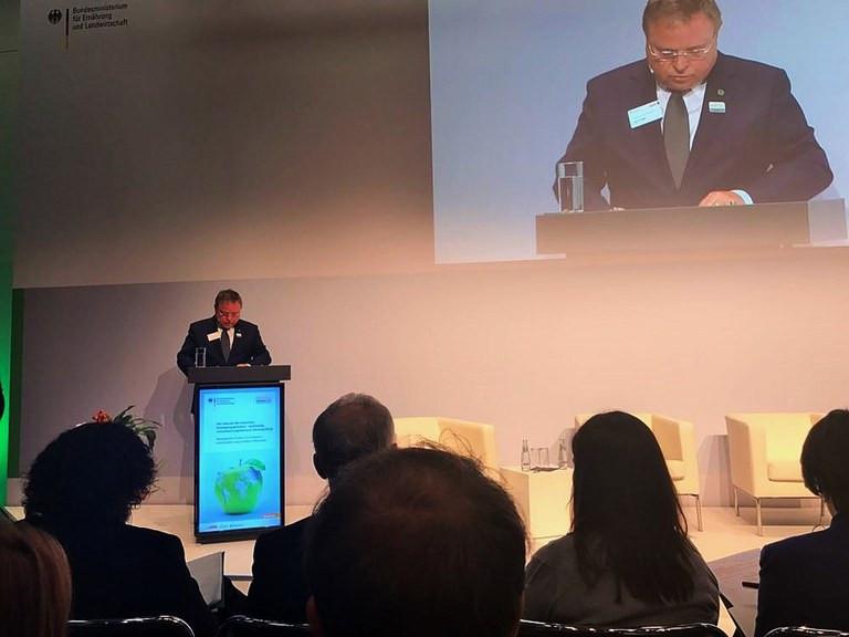 Ministro Blairo Maggi discursa em debate inaugural do GFFA (Mapa/Divulgação)