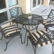Wrought-Iron Arm Chairs with Striped Cushion: $45.00
