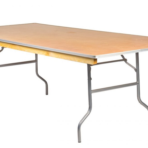 "Rectangular Banquet Tables: Can be 6' x 30"" x 30"" (White laminate or wood) or 8' x 30"" x 30""."