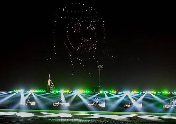 300 drones making up the portrait for Dubai Police drone show