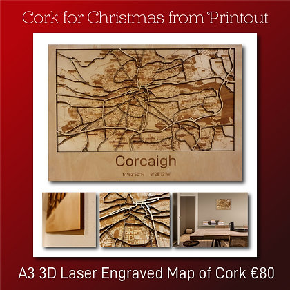 A3 3D Laser Engraved Map of Cork