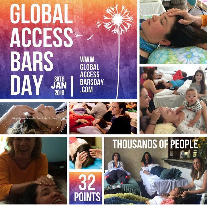 Journée Mondiale d'échange de Bars®   A Genève, le 6 janvier,   Chaque année, Access Consciousness® organise une journée d'échange mondiale pour donner et recevoir les Bars! Une journée puissante de changements dynamiques où chacun va co-créer dans ce processus! C'est à Genève que je vous invite pour nous rassembler et ainsi profiter de cette énergie et co-créer la dynamique! Alors si vous pratiquez les Bars® d'Access Consciousness® et vous souhaitez donner et recevoir ce processus? C'est l'occasion de venir faire un échange avec d'autres praticiens! Quels changements pouvons-nous créer dans le monde tous ensemble?   *Participation: 20CHF une session et 40CHF la journée *Horaires des sessions: Le matin de 9h30 à 12h30 L'aprés-midi de 14h00 à 17h30