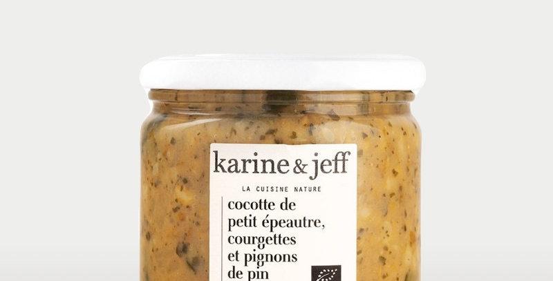 Cocotte de petit épeautre, courgettes et pignons - Karine & Jeff  - 350Gr
