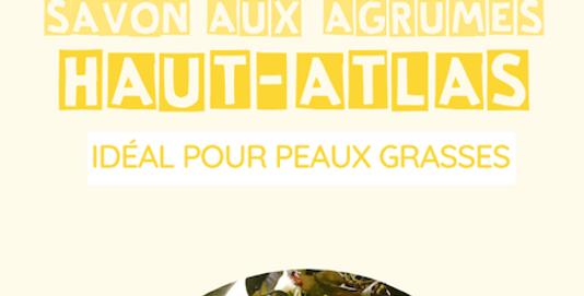 Savon « Haut-Atlas » aux agrumes (idéal pour peaux grasses) - L'Arbre a Savon