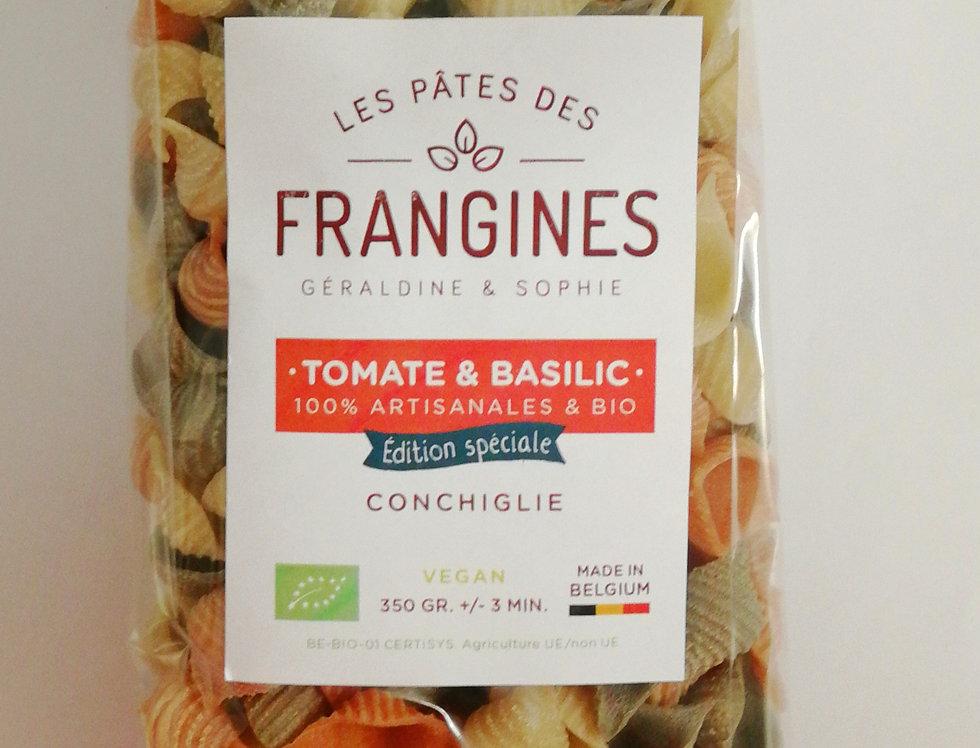 Pates FRANGINES Tomate & Basilic (vegan) - Coquillage en moule en bronze - 350Gr