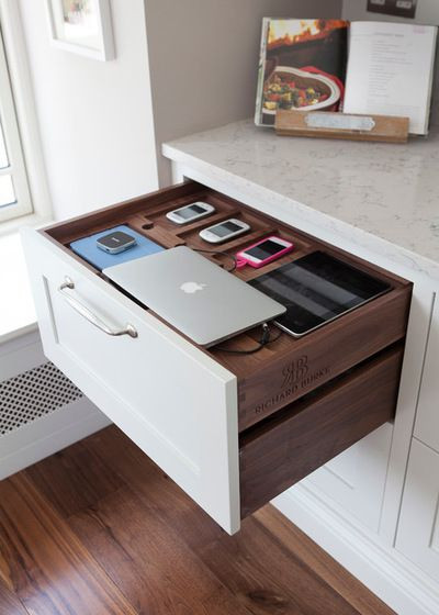 Charging drawer in kitchen for laptop, phone, tablet