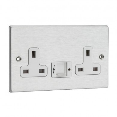 Hamilton Hartland Slimline x2 USB 2 gang unswitched double socket - satin chrome white insert