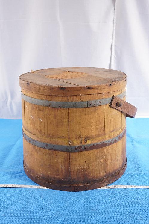 Primitive Wood Sugar Bucket With Lid