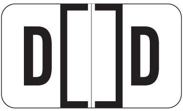 """Alpha Labels """"D"""" (JT3R) White"""