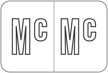 Alpha Letter Mc    White (BRPK-Mc)