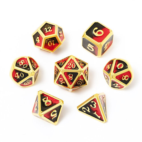 Chengshuo Dragon Scales Metal Polyhedral Dice Double Color Set 7pcs.