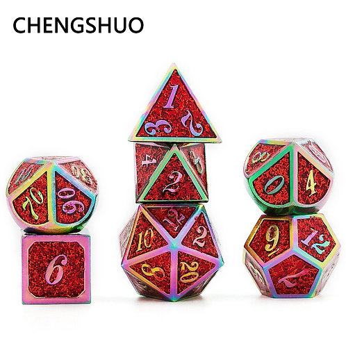 Chengshuo Starlight Metal Dice Set for Tabletop Role-Playing games. Dice 7pcs.