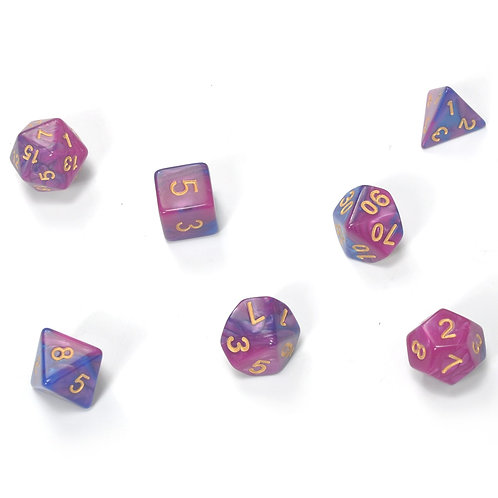 7pcs Set High Quality Multi-Sided Dice With Marble Effect