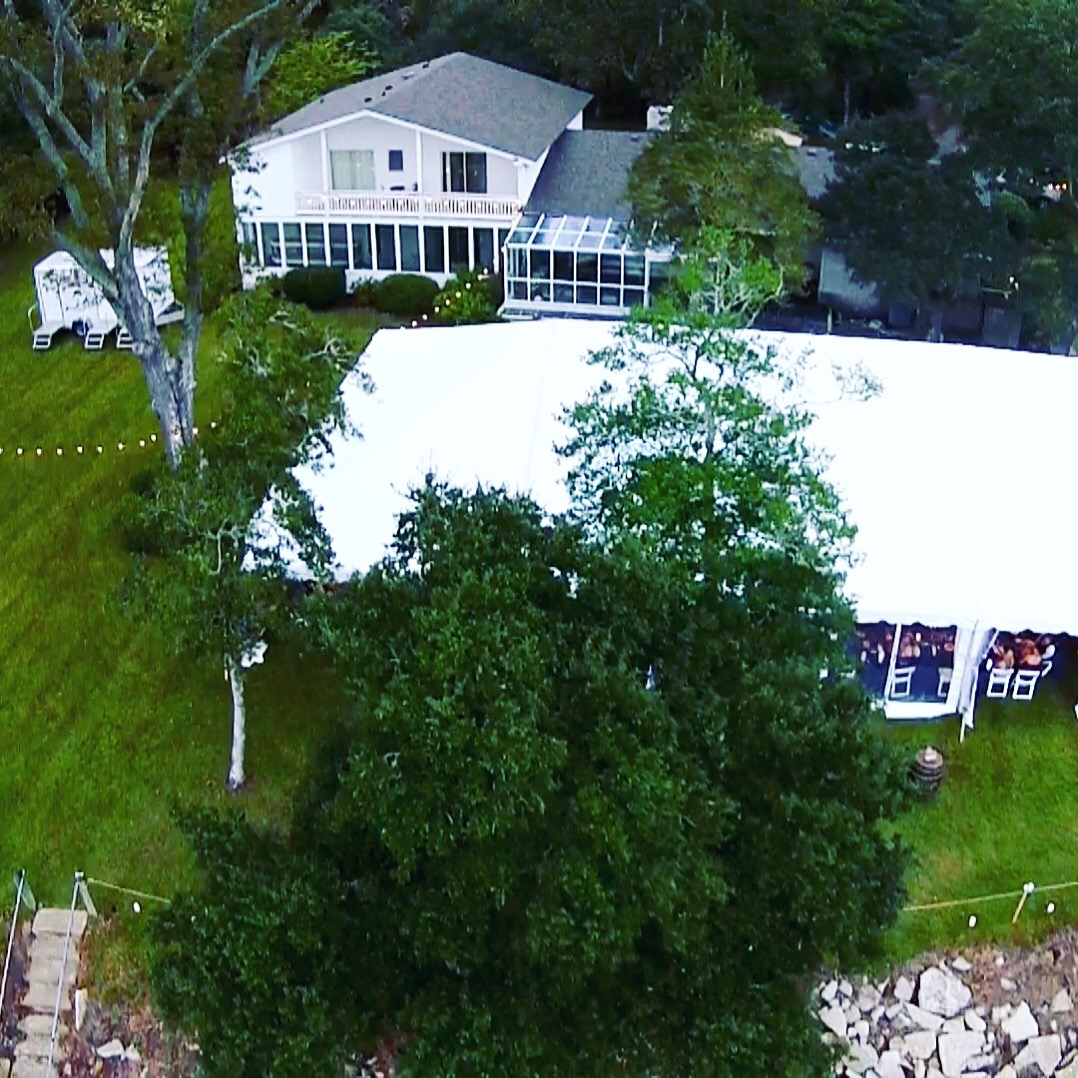 Tent reception aerial view