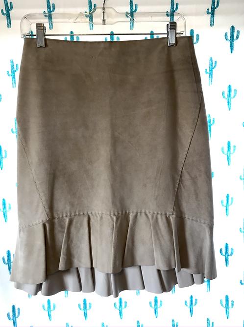 Cream Suede Ruffle Skirt