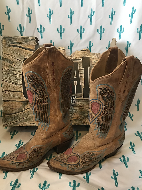 Distressed Tan Corral Boots - Size 8.5