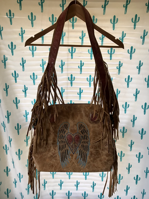 Peace and Angel Wing Fringe Purse