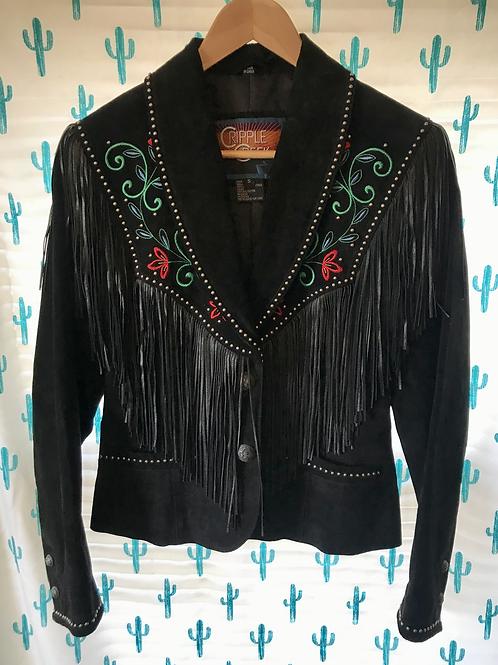 Black Leather Fringe Jacket
