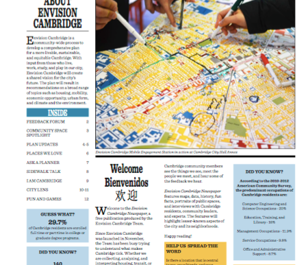 Envision Cambridge newspaper — fun facts and good community info