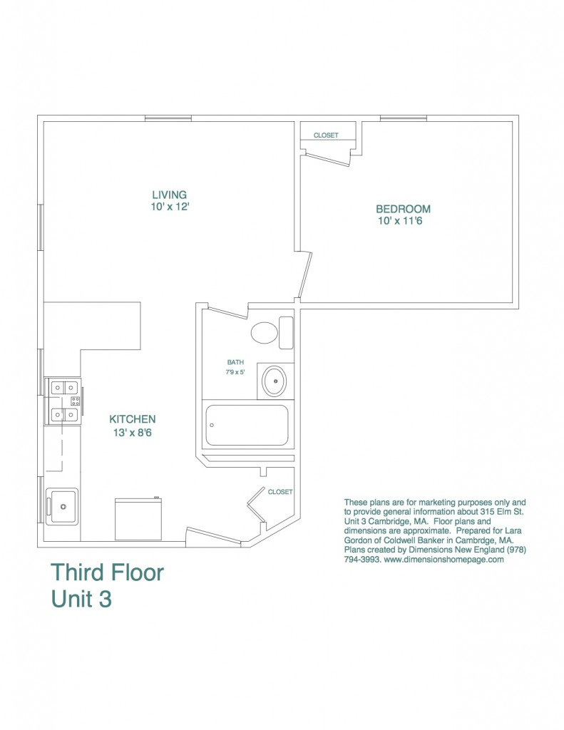 315 Elm Street, Unit 3 Floorplan