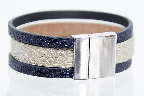 3 Strand Boho-Bracelet (navy,silver,navy)