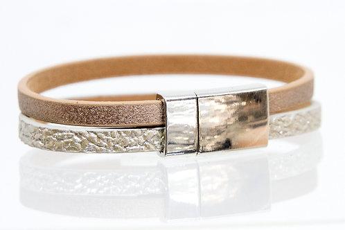 2 Strand Boho-Bracelet (Silver, Rose)