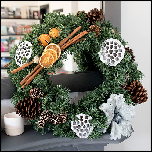 Traditional Wreath - SilverBlue Flower