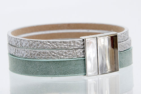 3 Strand Boho-Bracelet (turqoise,silver,silver)