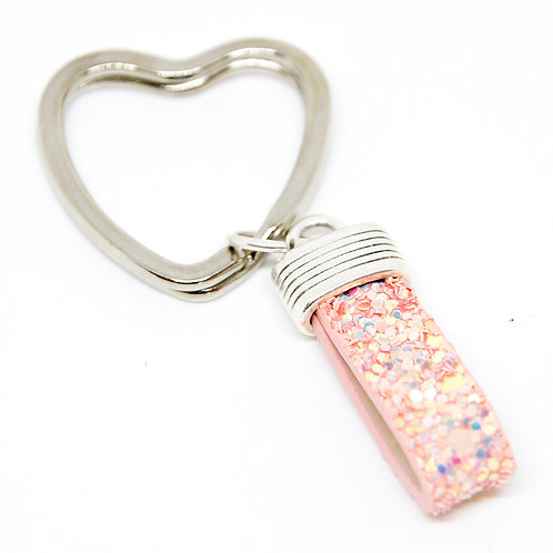 Pink Sparkle Heart Keyring