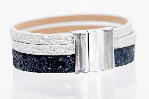 3 Strand Boho-Bracelet (navy sparkle,silver,silver)