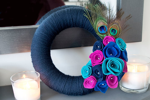 Navy Blue Wool Wreath with Peacock Feathers