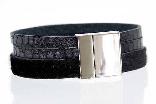 3 Strand Boho-Bracelet (animal black, black,black))