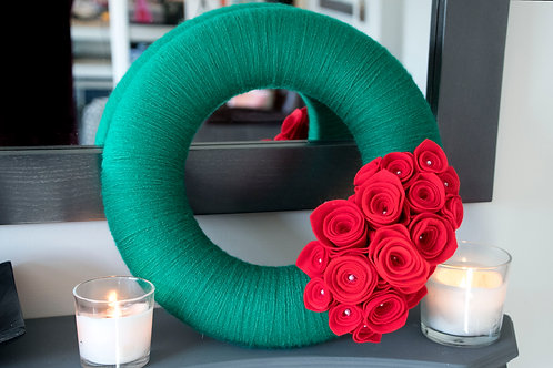 Green Wool Wreath with Red flowers
