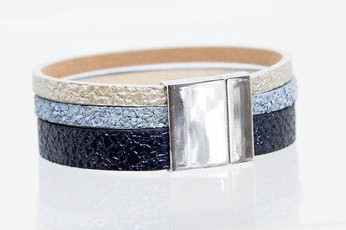 Strand Boho-Bracelet (navy, blue, silver)