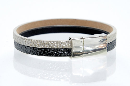 2 Strand Boho-Bracelet (Black, Silver)