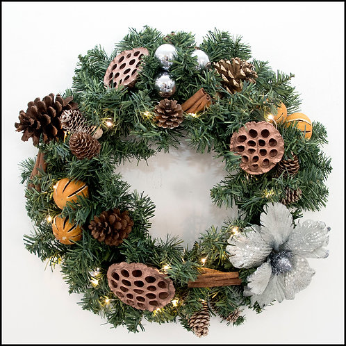 Traditional Wreath - SilverBlue Flower 2